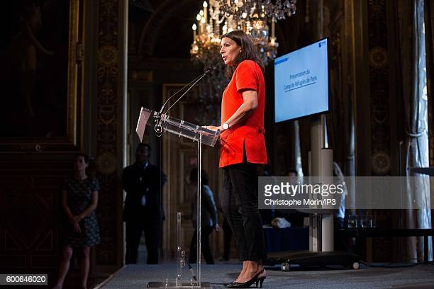 Mayor of Paris Anne Hidalgo announces the next opening of two refugee camps in Paris and the Paris suburbs in the coming weeks at a press conference...