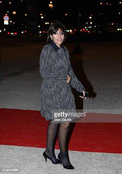 Mayor of Paris Anne Hidalgo arrives to a reception given by King and Queen of the Netherlands at 'Le Petit Palais' on March 11 2016 in Paris France...