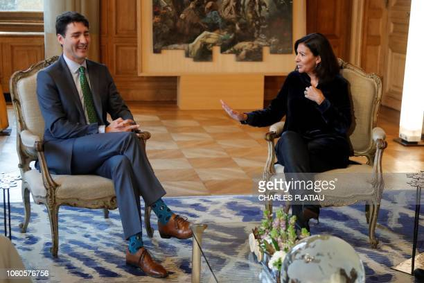 Mayor of Paris Anne Hidalgo attends a meeting with Canadian Prime Minister Justin Trudeau as part of the GovTech Summit, at Paris city hall, on...