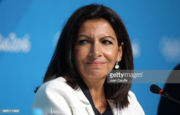 Mayor of Paris Anne Hidalgo attends a press conference given by the Paris 2024 Candidate Olympic City delegation at Media Press Center on August 5...