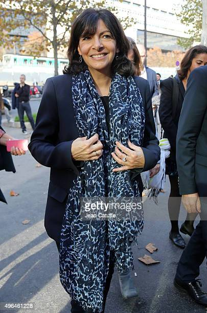 Mayor of Paris Anne Hidalgo attends the final on day 7 of the BNP Paribas Masters held at AccorHotels Arena on November 8 2015 in Paris France