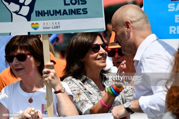 Mayor of Paris Anne Hidalgo attends the Gay Pride parade in Paris on June 30 2018