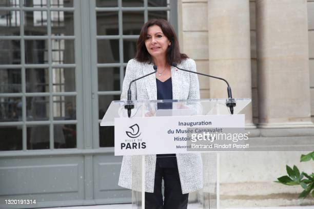 """Mayor of Paris Anne Hidalgo attends the Inauguration of the """"Carnavalet Museum - History of Paris"""" after 4 years of renovation on May 26, 2021 in..."""