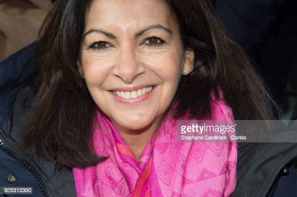 Mayor of Paris Anne Hidalgo attends the Lacoste show as part of the Paris Fashion Week Womenswear Fall/Winter 2018/2019 on February 28 2018 in Paris...