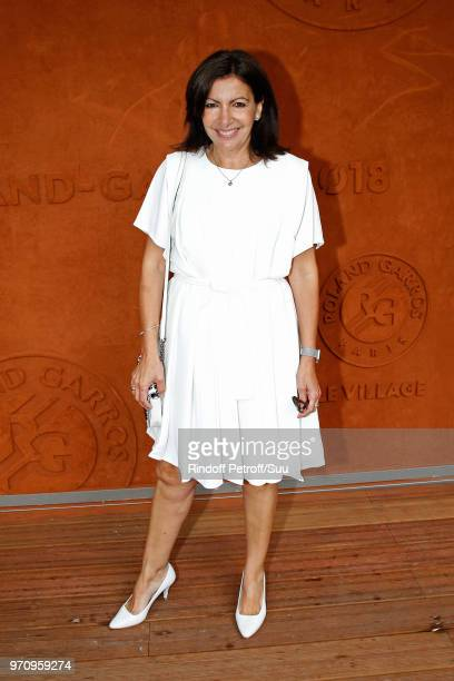Mayor of Paris Anne Hidalgo attends the Men Final of the 2018 French Open Day Fithteen at Roland Garros on June 10 2018 in Paris France