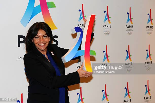 Mayor of Paris Anne Hidalgo attends the Paris 2024 file Presentation in the Paris Philharmony concert hall on February 17 2016 in Paris France The...