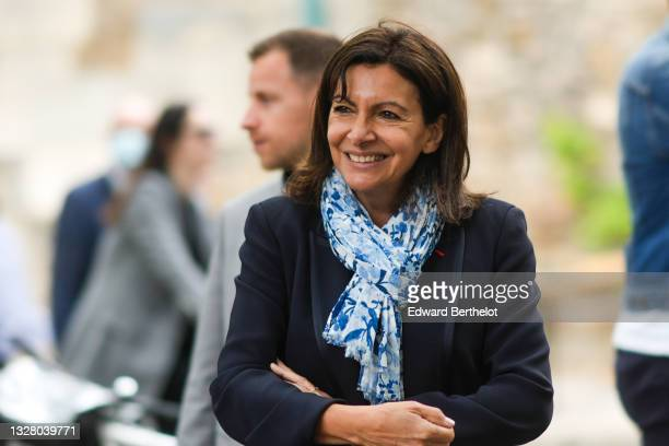 Mayor of Paris Anne Hidalgo attends the Paris Plages 2021 Opening For The Summer on July 10, 2021 in Paris, France. Paris Plages urban beaches will...