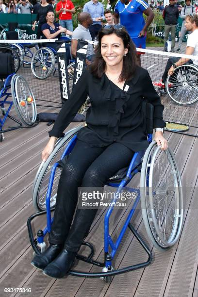 Mayor of Paris Anne Hidalgo attends the Tennis Match during the 'All in Wheelchair Day' as part ofthe 2017 French Tennis Open Day Eleven at Roland...