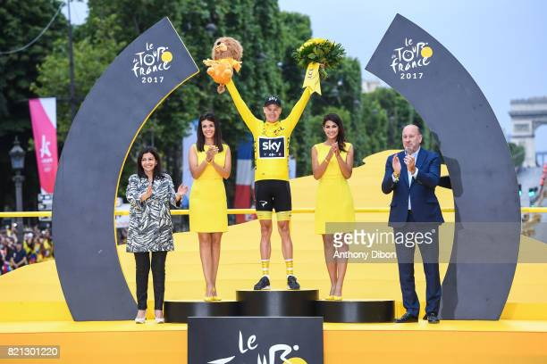 Mayor of Paris Anne Hidalgo Christopher Froome of Team Sky during the stage 21 from Montgeron to Paris at Avenue Des Champs Elysees on July 23 2017...