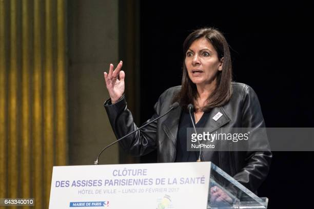 Mayor of Paris Anne Hidalgo delivers a speech as she attends the closing ceremony of the first phase of the Paris Health Forum held in Paris France...