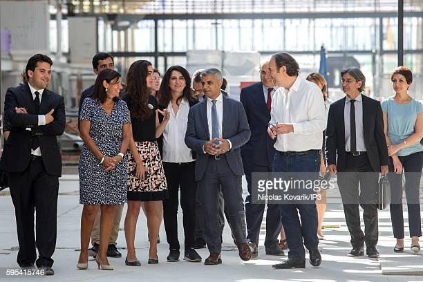 Mayor of Paris Anne Hidalgo Director of Station F Roxanne Varza Mayor of London Sadiq Khan and French entrepreneur Xavier Niel visit the soon to be...