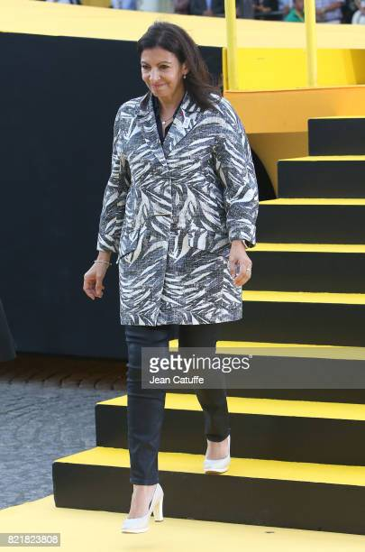Mayor of Paris Anne Hidalgo during the trophy ceremony following stage 21 of the Tour de France 2017 a 103km race between Montgeron and the Avenue of...