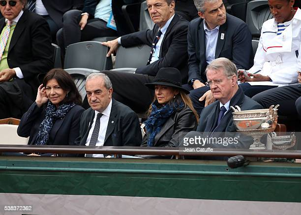 Mayor of Paris Anne Hidalgo FFT President Jean Gachassin Anne Gravoin Bernard Lapasset attend the Men's Singles final between Novak Djokovic of...