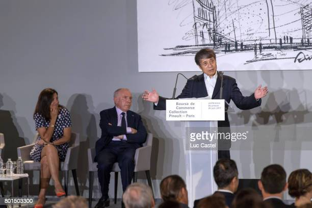 Mayor of Paris Anne Hidalgo Francois Pinault and Architect Tadao Ando attend the Press Conference to announce the transformation of the former Paris...