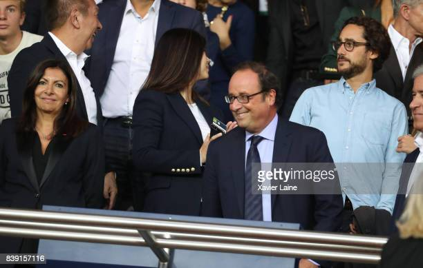 Mayor of Paris Anne Hidalgo French former president Francois Hollande and his son Thomas Hollande attend the French Ligue 1 match between Paris Saint...