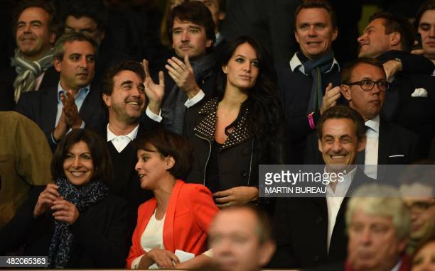 Mayor of Paris Anne Hidalgo French Sport minister Najat VallaudBelkacem French businessman Arnaud Lagardere his wife Jade and French former president...