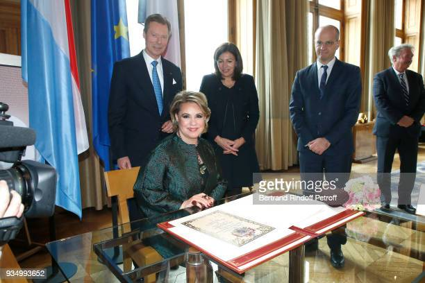 Mayor of Paris Anne Hidalgo, Grand-Duc Henri of Luxembourg, Grande-Duchesse Maria Teresa of Luxembourg and Jean-Michel Blanquer attend an Interview...