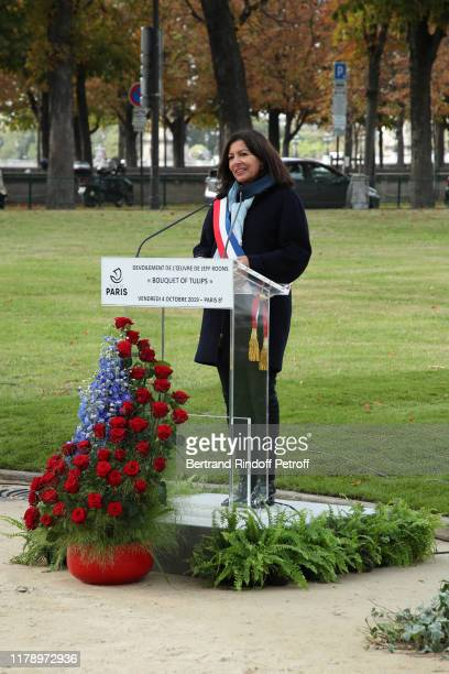 """Mayor of Paris Anne Hidalgo makes a speech during the Jeff Koons' Artwork """"Tulips Bouquet"""" : Opening Ceremony on October 04, 2019 in Paris, France."""