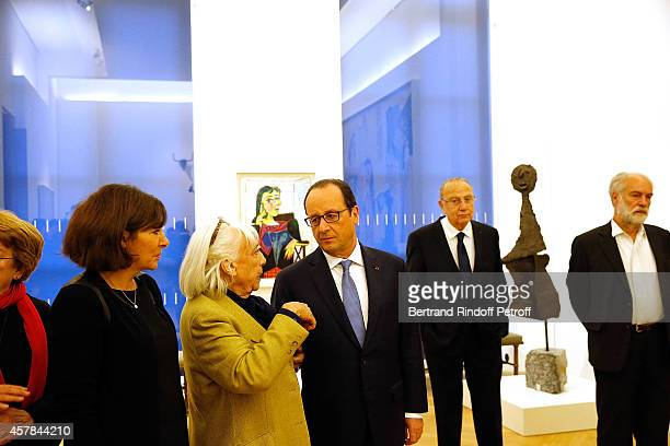 Mayor of Paris Anne Hidalgo Maya Widmaier Picasso daughter of Pablo Picasso and French President Francois Hollande inaugurate the Pablo Picasso...