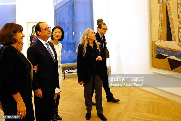 Mayor of Paris Anne Hidalgo Maya Widmaier Picasso daughter of Pablo Picasso French President Francois Hollande Ministre of Culture Fleur Pellerin...