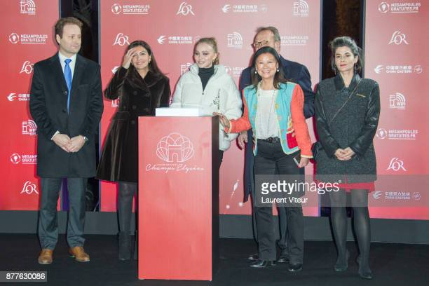 Mayor of Paris Anne Hidalgo Mayor of 8th District of Paris Jeanne D'Hauteserre Actress LilyRose Deep and President of Comite des Champs Elysees...