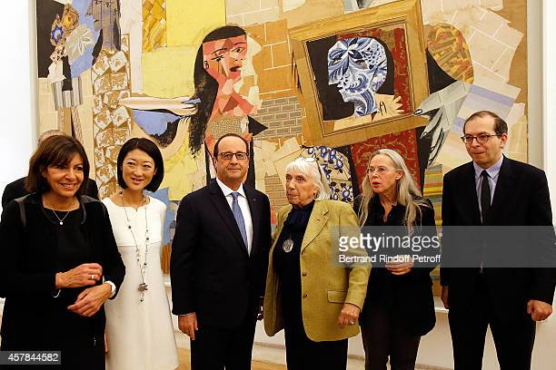 Mayor of Paris Anne Hidalgo Ministre of Culture Fleur Pellerin French President Francois Hollande Maya Widmaier Picasso Anne Baldassari and President...