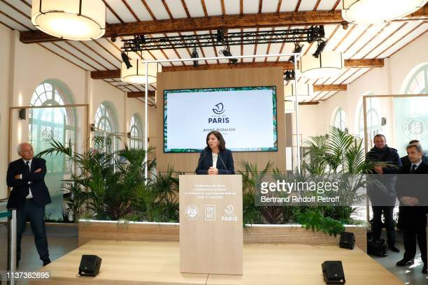 """Mayor of Paris Anne Hidalgo presents, in front of Nicolas Sarkozy and Christian Bimes , the Inauguration of the """"Simonne-Mathieu"""" Tennis court in the..."""
