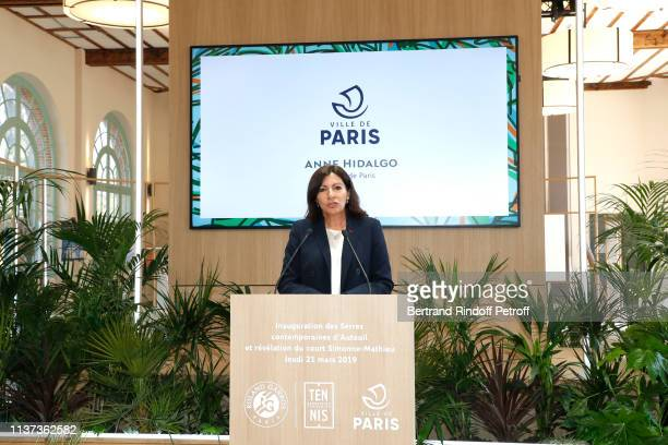 """Mayor of Paris Anne Hidalgo presents the Inauguration of the """"Simonne-Mathieu"""" Tennis court in the middle of the """"Serres d'Auteuil"""" during their..."""
