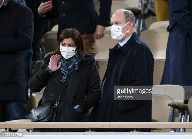 Mayor of Paris Anne Hidalgo, Prince Albert II of Monaco attend the Men's Final on day 15 of the 2020 French Open on Court Philippe Chatrier at Roland...