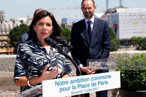 Mayor of Paris Anne Hidalgo speaks to the press on July 7 at the Monnaie de Paris next to French Prime minister Edouard Philippe French Prime...