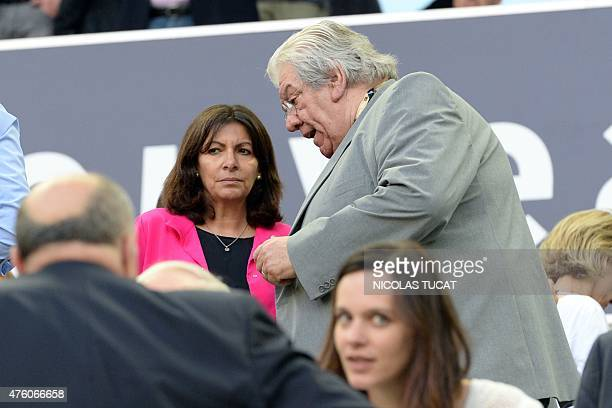 Mayor of Paris Anne Hidalgo talks to President of French Ligue nationale de rugby Paul Goze before the French Top 14 rugby union semifinal match...