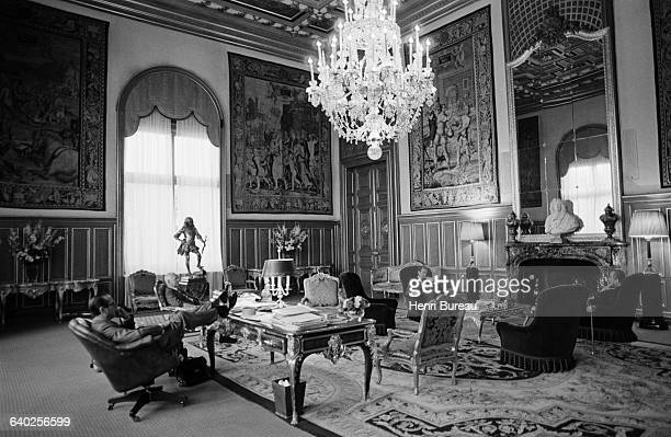 Mayor of Paris Jacques Chirac in his City Hall office with Pierre Messmer during the 1981 Presidential election.