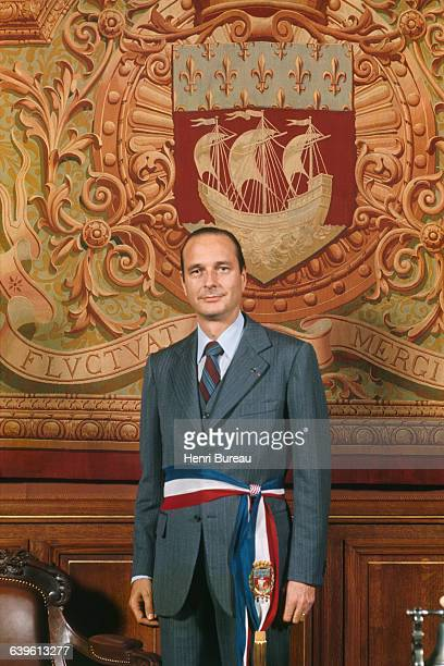 Mayor of Paris Jacques Chirac in the official rooms of the Hotel de Ville, the town hall of Paris.