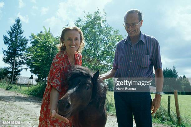 Mayor of Paris Jacques Chirac with wife Bernadette on holiday at Chateau de Bity, in Correze.