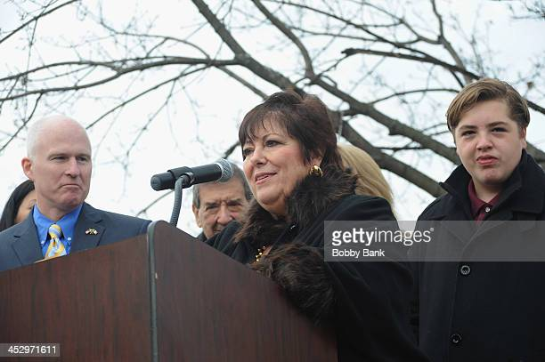 Mayor of Park Ridge Terry Maguire Johanna Antonacci and Michael Gandolfini attend the James Gandolfini Street Naming Ceremony on December 1 2013 in...