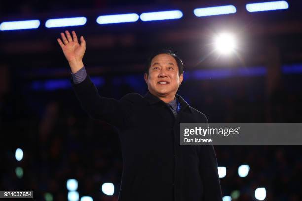 Mayor of PyeongChang Sim Jaeguk participates in the Olympic flag handover ceremony during the Closing Ceremony of the PyeongChang 2018 Winter Olympic...