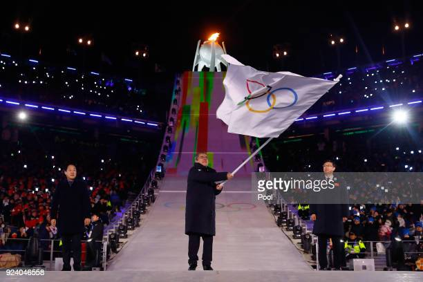 Mayor of PyeongChang Sim Jae-guk, President of the International Olympic Committee Thomas Bach and Mayor of Beijing Chen Jining participate in the...