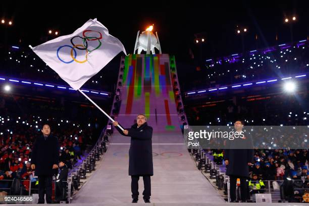 Mayor of PyeongChang Sim Jaeguk President of the International Olympic Committee Thomas Bach and Mayor of Beijing Chen Jining participate in the...