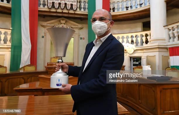 Mayor of Reggio Emilia Luca Vecchi during a TIMVISION Cup Final press conference at Sala del Tricolore on May 28, 2021 in Reggio nell'Emilia, Italy.