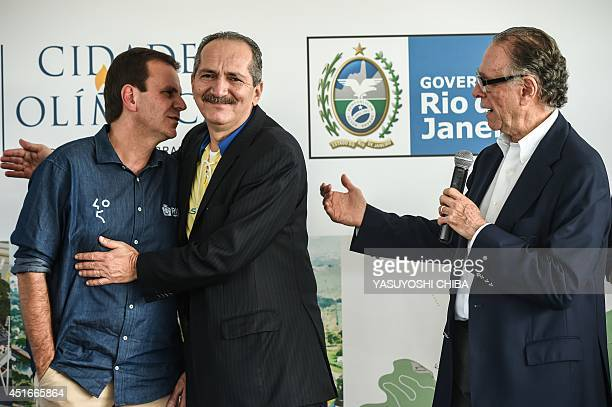 Mayor of Rio de Janeiro Eduardo Paes Brazilian Sports Minister Aldo Rebelo and President of the Brazilian Olympic Committee Carlos Nuzman attend the...