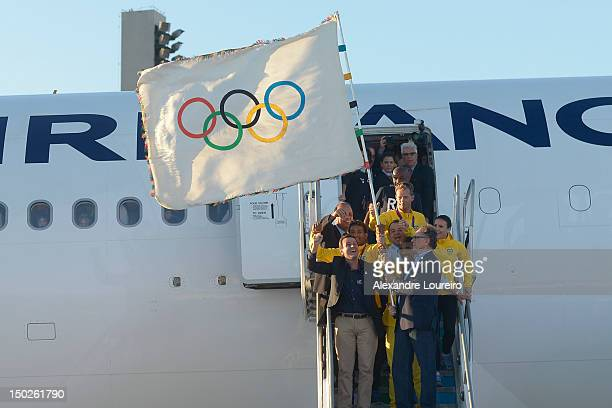 Mayor of Rio de Janeiro Eduardo Paes President of Rio 2016 Commite Carlos Arthur Nuzman Governor of Rio de Janeiro Sergio Cabral Filho and atlhetes...