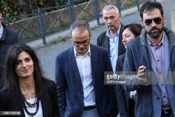 Mayor of Rome and member of the Five Star Movement Virginia Raggi seen leaving the courthouse after being discharged of accusations of corrupt hiring...