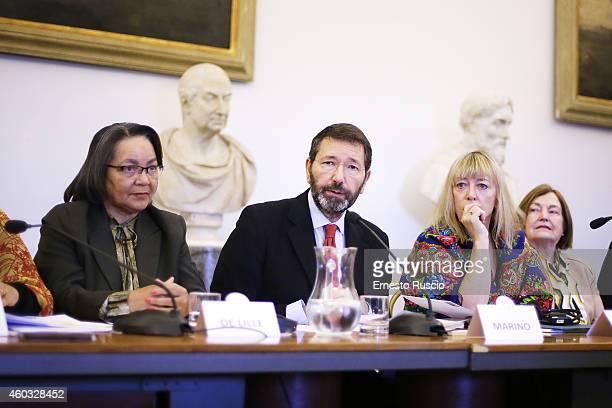 Mayor of Rome Ignazio Marino and Jody Williams attend the 14th World Summit of Nobel Peace Laureates press conference at Protomoteca del Capidoglio...