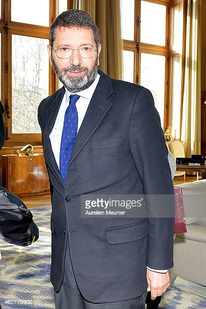 Mayor of Rome Ignazio Marino arrives to meet Mayor of Paris Anne Hidalgo at Hotel de Ville on February 5 2015 in Paris France The meeting was...