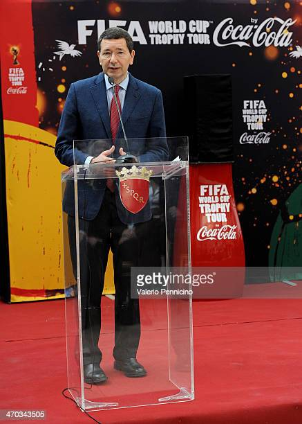 Mayor of Rome Ignazio Marino attends a press conference during day one of the FIFA World Cup Trophy Tour on February 19 2014 in Rome Italy