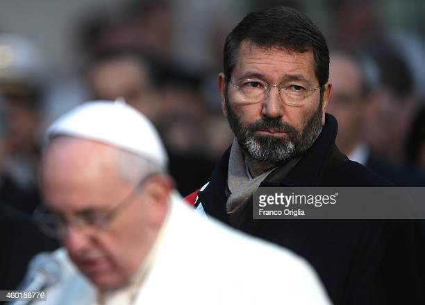 Mayor of Rome Ignazio Marino attends the Immaculate Conception celebration held by Pope Francis at Spanish Steps on December 8 2014 in Rome Italy...