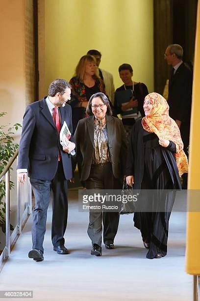 Mayor of Rome Ignazio Marino Shirin Elbadi and Tawakkol Karman attend the 14th World Summit of Nobel Peace Laureates press conference at Promoteca...
