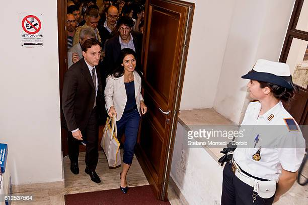 Mayor of Rome Virgina Raggi attends a press conference on the social policies of the City of Rome on October 3 2016 in Rome Italy
