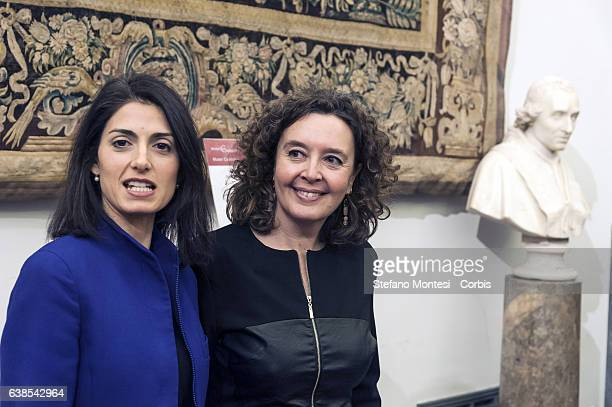 Mayor of Rome Virginia Raggi and Laura Baldassarre councilor to the Person School and Community solidarity attend a press conference in Capitoline...