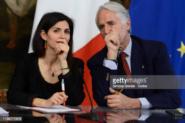 Mayor of Rome Virginia Raggi and President of Coni Giovanni Malagò attend thepresentation at Palazzo Chigi of the 76th edition of the Internazionali...